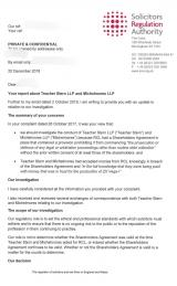 SRA response to dodgy lawfirms Teacher Stern and Michelmores p1