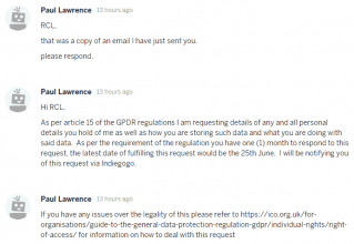 Paul Lawrence GDPR request made on May 24th 2018
