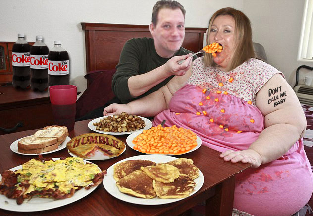 Lee Fogarty spills the beans on Suzanne Martin, fat obese woman eating