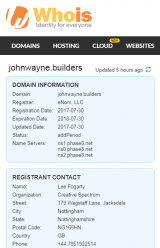 WhoIs record of johnwayne.builders as of 30/07/2017